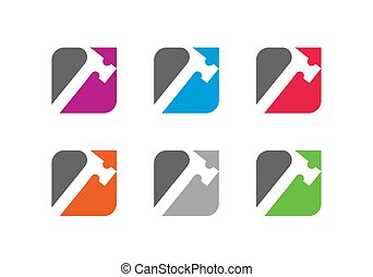 logotipo, servizi, simbolo, riparazione, sagoma, uomo tuttofare, carpenteria, icona, disegno