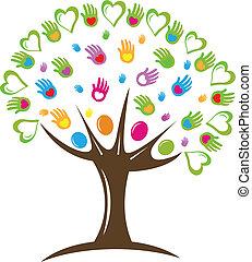 logotipo, simbolo, cuori, albero, mani