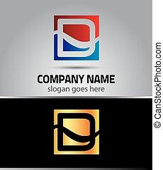logotipo, simbolo, d, lettera, icona