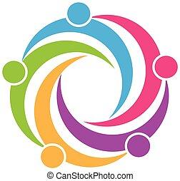 logotipo, simbolo, lavoro squadra, disegno