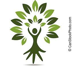 logotipo, simbolo, persone, albero, mano