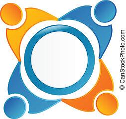 logotipo, simbolo, squadra, persone lavorare