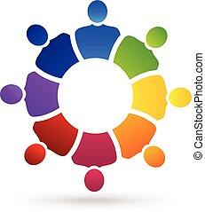 logotipo, sociale, lavoro squadra, persone, media