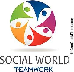 logotipo, sociale, lavoro squadra, persone