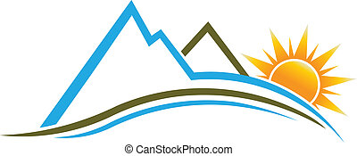logotipo, sole, image., montagne