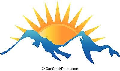 logotipo, sole, montagne
