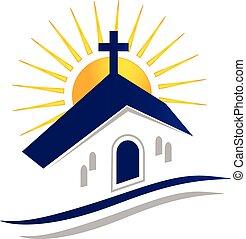 logotipo, sole, vettore, icona, chiesa