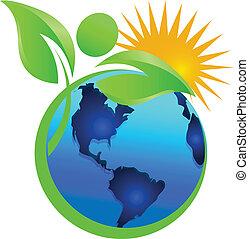 logotipo, sole, vita, naturale, terra