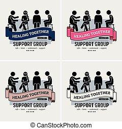 logotipo, sostegno, centro, gruppo, design.