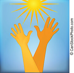 logotipo, speranzoso, mani