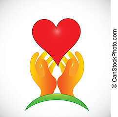 logotipo, speranzoso, verde, mani