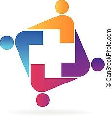 logotipo, squadra medica