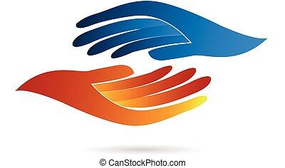 logotipo, stretta di mano, affari