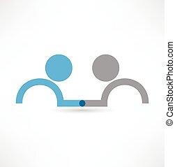 logotipo, stretta di mano, icon., design.