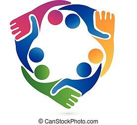 logotipo, stretta di mano, lavoro squadra, affari