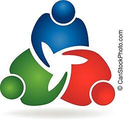 logotipo, stretta di mano, lavoro squadra, persone affari