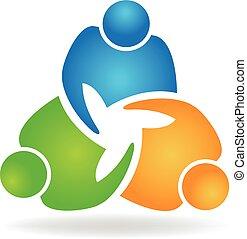 logotipo, stretta di mano, lavoro squadra, persone