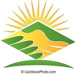 logotipo, stretta di mano, verde