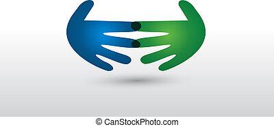 logotipo, stretta di mano, vettore, persone affari