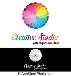 logotipo, studio, sagoma, creativo