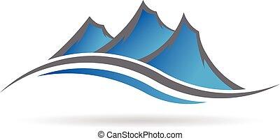 logotipo, swoosh, montagne