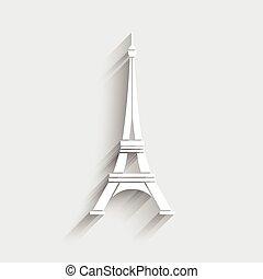 logotipo, torre, eiffel, vector.