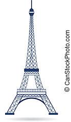 logotipo, torre, vettore, eiffel