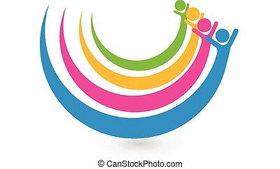 logotipo, unità, concetto, amici, felice