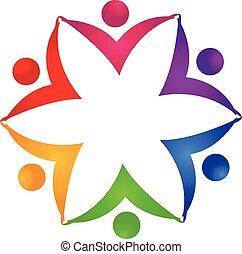 logotipo, unità, fiore, lavoro squadra, persone
