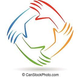 logotipo, unità, lavoro squadra, mani