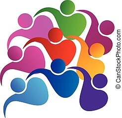 logotipo, unità, vettore, lavoro squadra, persone