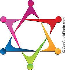 logotipo, unità, vettore, squadra