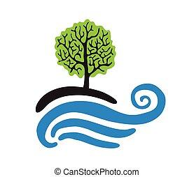 logotipo, vettore, albero, acqua