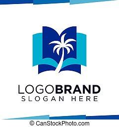 logotipo, vettore, albero, libro, sagoma