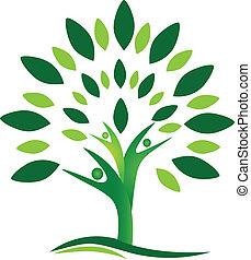 logotipo, vettore, albero, persone, lavoro squadra