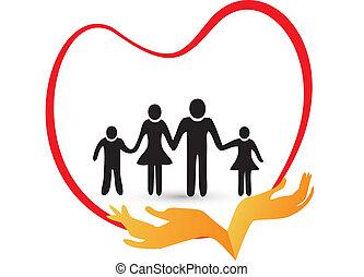 logotipo, vettore, amore, famiglia