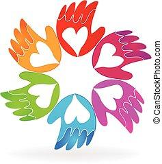 logotipo, vettore, amore, icona, mani