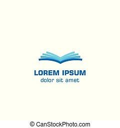 logotipo, vettore, aperto, book., sagoma