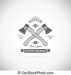 logotipo, vettore, campeggio, retro