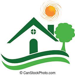 logotipo, vettore, casa, verde