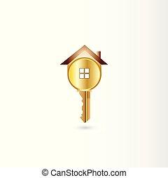 logotipo, vettore, chiave oro, casa