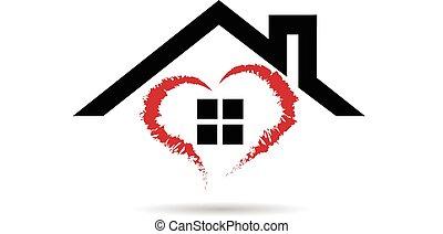 logotipo, vettore, cuore, casa