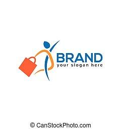 logotipo, vettore, disegno, persone, viaggiatore