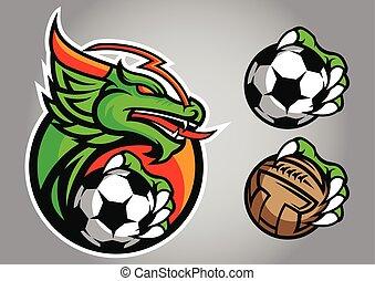 logotipo, vettore, emblema, football, drago