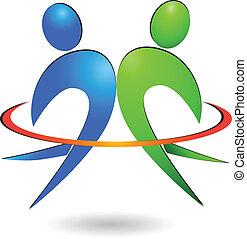 logotipo, vettore, felice, persone