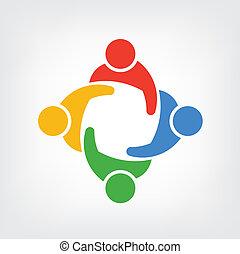 logotipo, vettore, gruppo, persone