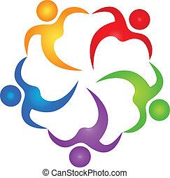 logotipo, vettore, lavoro squadra, benefattore