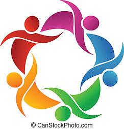 logotipo, vettore, lavoro squadra, felice, persone