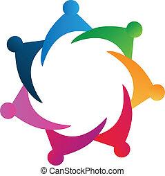 logotipo, vettore, lavoro squadra, persone