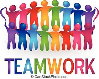 logotipo, vettore, lavoro squadra, persone, riunione